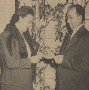 Gaston and Mrs. Shipley at Banquet Hall Naming Contest - 1951
