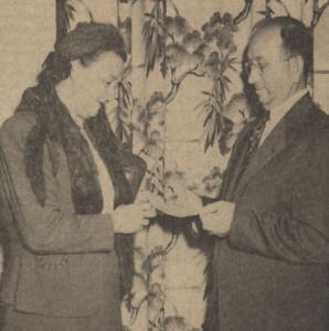 Gaston and Mrs. Shipley at Banquet Hall Naming Contest - 1951